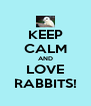 KEEP CALM AND LOVE RABBITS! - Personalised Poster A4 size