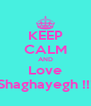 KEEP CALM AND Love Shaghayegh !!! - Personalised Poster A4 size