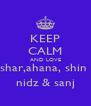 KEEP CALM AND LOVE shar,ahana, shin  nidz & sanj - Personalised Poster A4 size