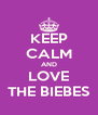 KEEP CALM AND LOVE THE BIEBES - Personalised Poster A4 size