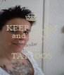KEEP CALM and LOVE THIS WOMAN with TATTOOS - Personalised Poster A4 size