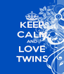 KEEP CALM AND LOVE TWINS - Personalised Poster A4 size