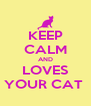 KEEP CALM AND LOVES YOUR CAT  - Personalised Poster A4 size