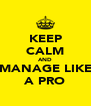 KEEP CALM AND MANAGE LIKE A PRO - Personalised Poster A4 size