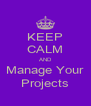 KEEP CALM AND Manage Your Projects - Personalised Poster A4 size