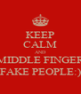 KEEP CALM AND MIDDLE FINGER FAKE PEOPLE:) - Personalised Poster A4 size