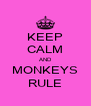 KEEP CALM AND MONKEYS RULE - Personalised Poster A4 size