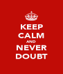 KEEP CALM AND NEVER DOUBT - Personalised Poster A4 size