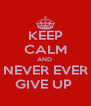 KEEP CALM AND  NEVER EVER GIVE UP  - Personalised Poster A4 size