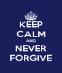 KEEP CALM AND NEVER FORGIVE - Personalised Poster A4 size