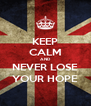 KEEP CALM AND NEVER LOSE YOUR HOPE - Personalised Poster A4 size