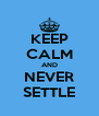 KEEP CALM AND NEVER SETTLE - Personalised Poster A4 size