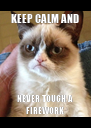 KEEP CALM AND NEVER TOUCH A FIREWORK - Personalised Poster A4 size
