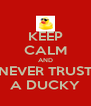 KEEP CALM AND NEVER TRUST A DUCKY - Personalised Poster A4 size