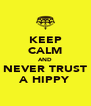 KEEP CALM AND NEVER TRUST A HIPPY - Personalised Poster A4 size