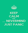 KEEP CALM AND   ... NEVERMIND JUST PANIC - Personalised Poster A4 size