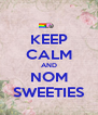 KEEP CALM AND NOM SWEETIES - Personalised Poster A4 size