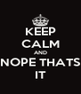 KEEP CALM AND NOPE THATS IT - Personalised Poster A4 size