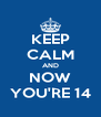 KEEP CALM AND NOW YOU'RE 14 - Personalised Poster A4 size