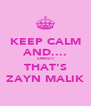 KEEP CALM AND.... OMG!! THAT'S ZAYN MALIK - Personalised Poster A4 size