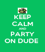 KEEP CALM AND PARTY ON DUDE  - Personalised Poster A4 size