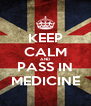 KEEP CALM AND PASS IN MEDICINE - Personalised Poster A4 size