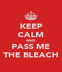KEEP CALM AND PASS ME THE BLEACH - Personalised Poster A4 size
