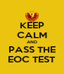 KEEP CALM AND PASS THE EOC TEST - Personalised Poster A4 size