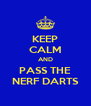 KEEP CALM AND PASS THE NERF DARTS - Personalised Poster A4 size