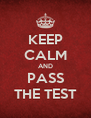 KEEP CALM AND PASS THE TEST - Personalised Poster A4 size
