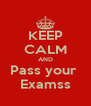 KEEP CALM AND Pass your  Examss - Personalised Poster A4 size