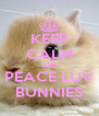 KEEP CALM AND PEACE LUV BUNNIES - Personalised Poster A4 size