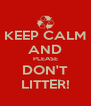 KEEP CALM AND PLEASE DON'T LITTER! - Personalised Poster A4 size