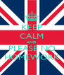 KEEP CALM AND PLEASE NO HOMEWORK - Personalised Poster A4 size