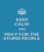 KEEP CALM AND PRAY FOR THE STUPID PEOPLE - Personalised Poster A4 size