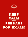 KEEP CALM AND PREPARE FOR EXAMS - Personalised Poster A4 size