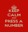 KEEP CALM AND PRESS A NUMBER - Personalised Poster A4 size