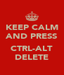 KEEP CALM AND PRESS  CTRL-ALT DELETE - Personalised Poster A4 size