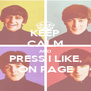 KEEP CALM AND PRESS I LIKE, ON PAGE - Personalised Poster A4 size