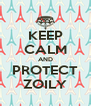 KEEP CALM AND PROTECT ZOILY - Personalised Poster A4 size