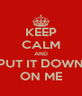 KEEP CALM AND PUT IT DOWN ON ME - Personalised Poster A4 size