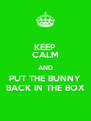 KEEP CALM AND PUT THE BUNNY BACK IN THE BOX - Personalised Poster A4 size