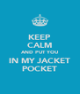 KEEP CALM AND PUT YOU IN MY JACKET POCKET - Personalised Poster A4 size