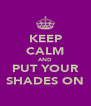 KEEP CALM AND PUT YOUR SHADES ON - Personalised Poster A4 size
