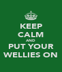 KEEP CALM AND PUT YOUR WELLIES ON - Personalised Poster A4 size