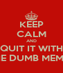 KEEP CALM AND QUIT IT WITH THE DUMB MEMES - Personalised Poster A4 size