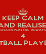 KEEP CALM AND REALISE  SOCCER PLAYERS  ALWAYS  4 NETBALL PLAYERS - Personalised Poster A4 size