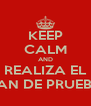 KEEP CALM AND REALIZA EL PLAN DE PRUEBAS - Personalised Poster A4 size