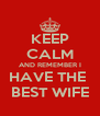 KEEP CALM AND REMEMBER I HAVE THE  BEST WIFE - Personalised Poster A4 size