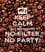 KEEP CALM and remember: NO FILTER NO PARTY! - Personalised Poster A4 size
